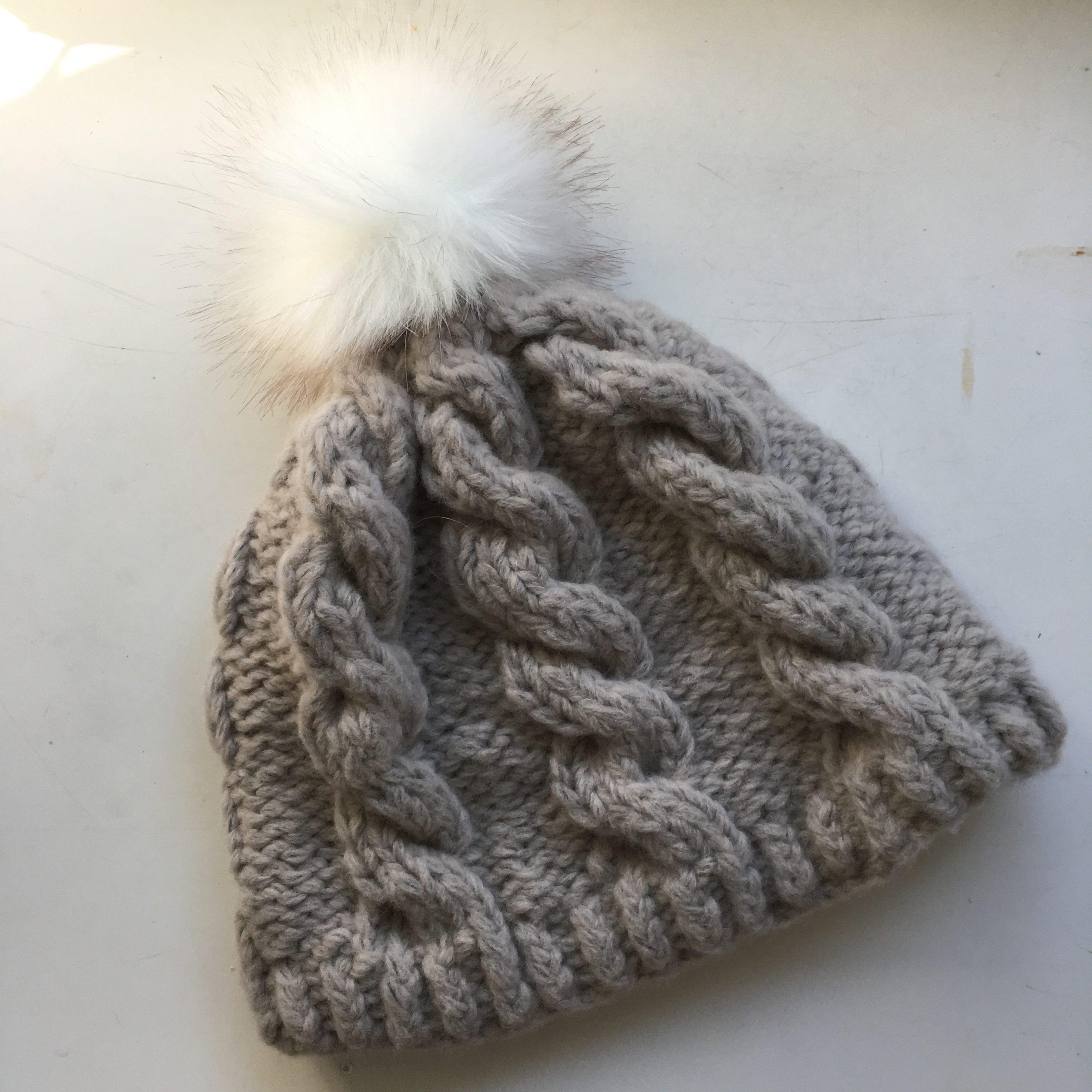 Kit Hat with pom pom - TinCanKnits Northward pattern